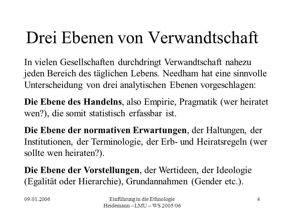 09.01.2006Einführung in die Ethnologie Heidemann – LMU – WS 2005/06 4 Drei Ebenen von Verwandtschaft In vielen Gesellschaften durchdringt Verwandtschaft nahezu jeden Bereich des täglichen Lebens.