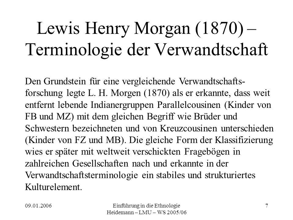 09.01.2006Einführung in die Ethnologie Heidemann – LMU – WS 2005/06 7 Lewis Henry Morgan (1870) – Terminologie der Verwandtschaft Den Grundstein für eine vergleichende Verwandtschafts- forschung legte L.