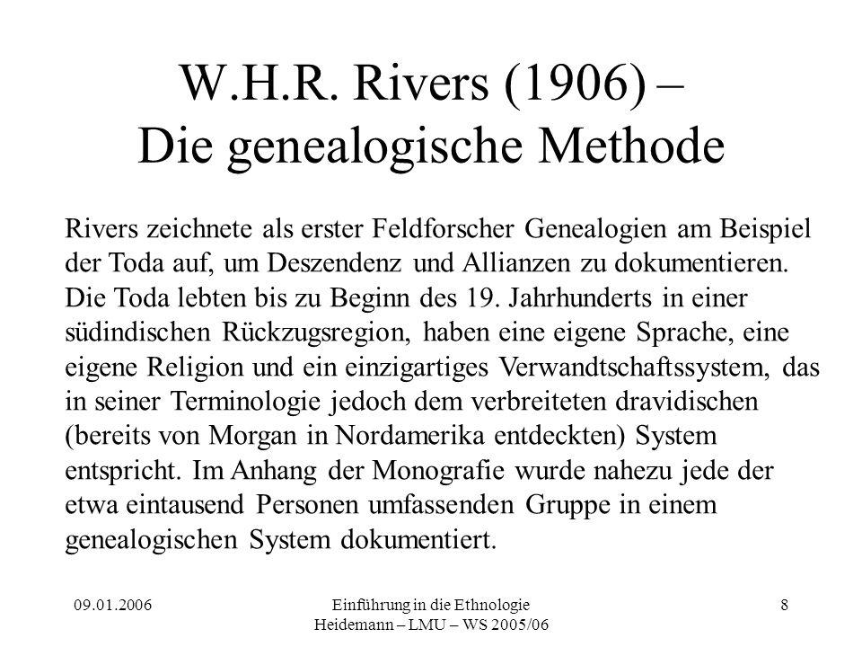 09.01.2006Einführung in die Ethnologie Heidemann – LMU – WS 2005/06 8 W.H.R. Rivers (1906) – Die genealogische Methode Rivers zeichnete als erster Fel