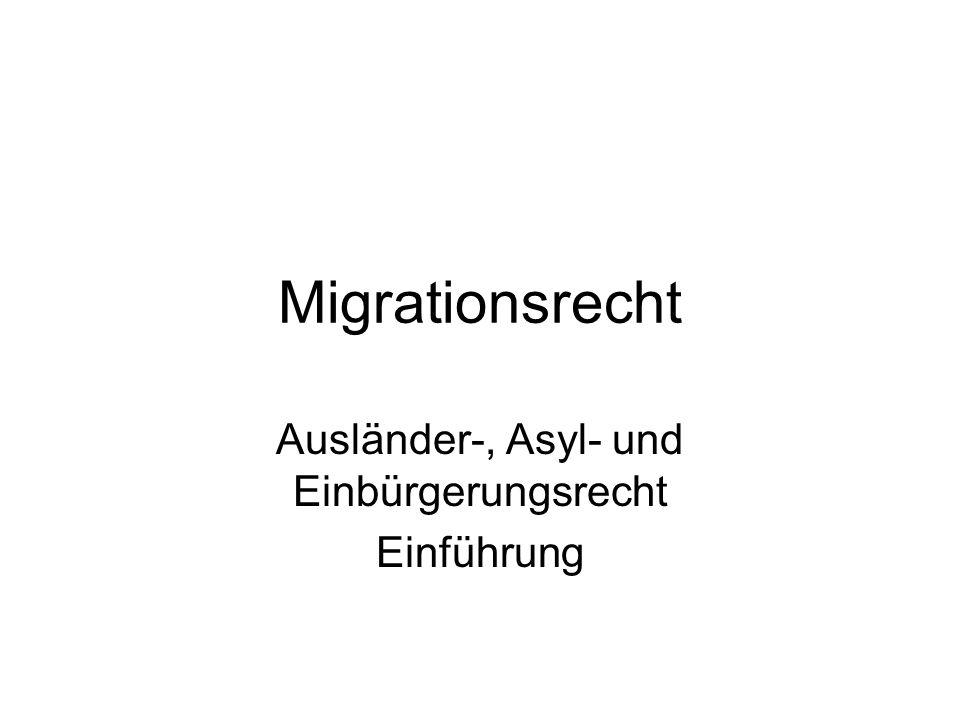 Migrationsrecht Ausländer-, Asyl- und Einbürgerungsrecht Einführung