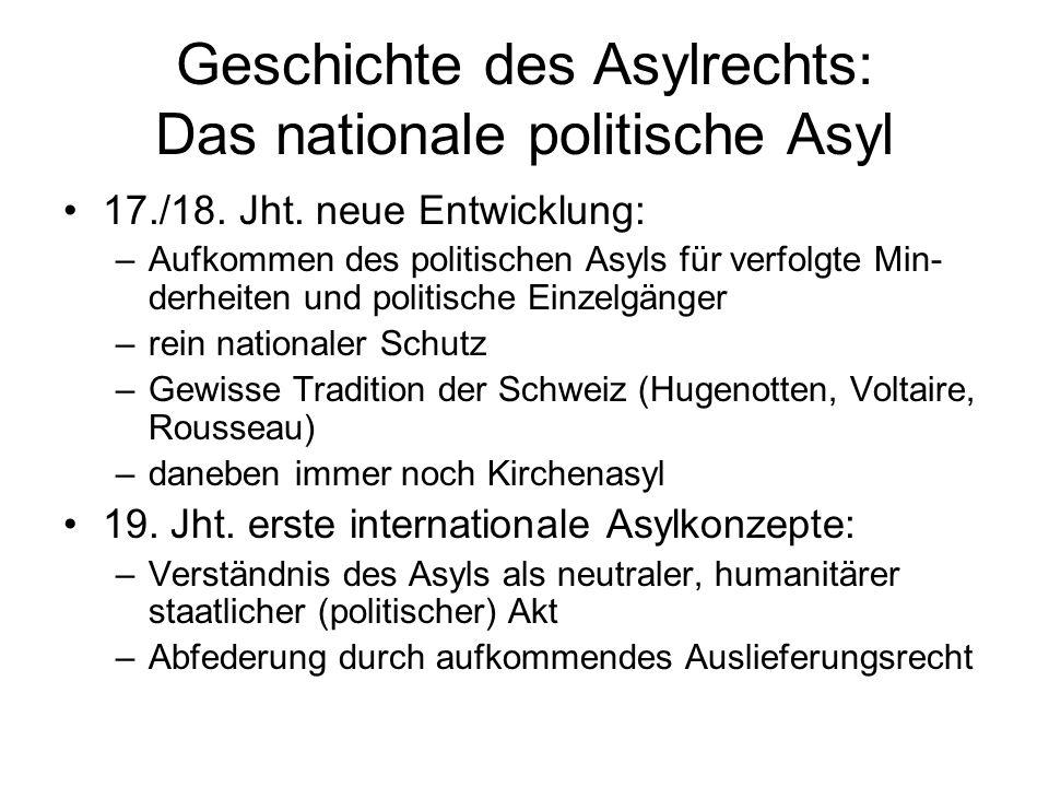 Geschichte des Asylrechts: Das nationale politische Asyl 17./18.