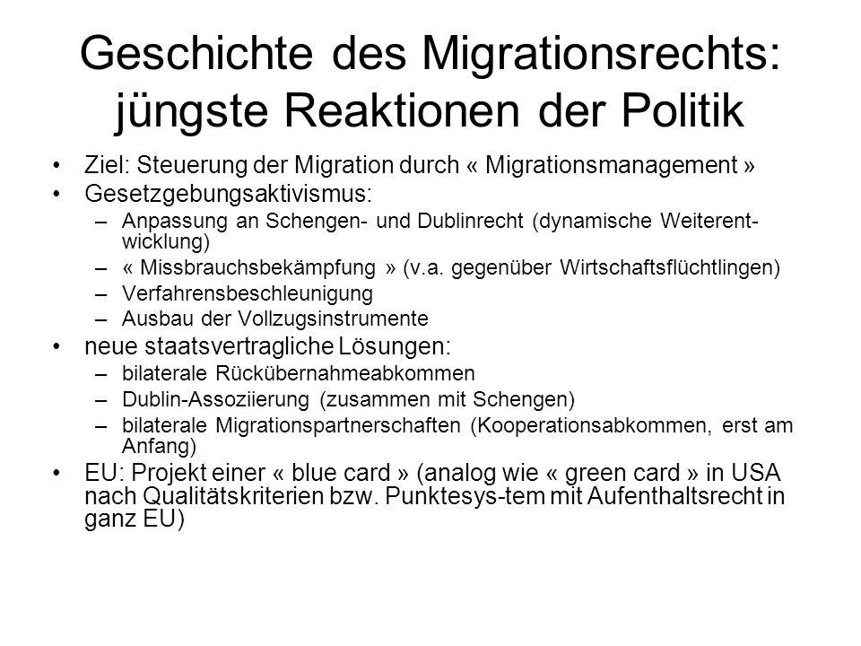 Geschichte des Migrationsrechts: jüngste Reaktionen der Politik Ziel: Steuerung der Migration durch « Migrationsmanagement » Gesetzgebungsaktivismus: –Anpassung an Schengen- und Dublinrecht (dynamische Weiterent- wicklung) –« Missbrauchsbekämpfung » (v.a.