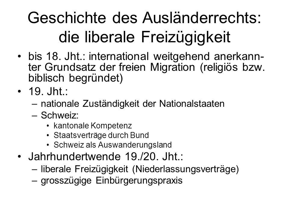 Geschichte des Ausländerrechts: die liberale Freizügigkeit bis 18.