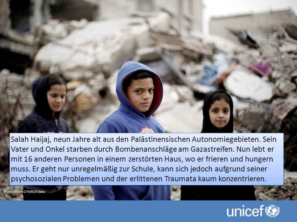Salah Haijaj, neun Jahre alt aus den Palästinensischen Autonomiegebieten. Sein Vater und Onkel starben durch Bombenanschläge am Gazastreifen. Nun lebt