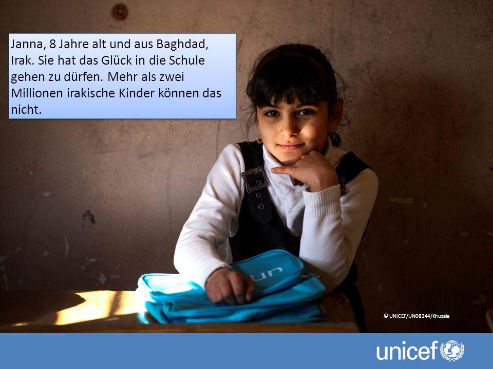 Janna, 8 Jahre alt und aus Baghdad, Irak. Sie hat das Glück in die Schule gehen zu dürfen.