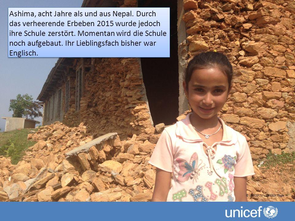 Ashima, acht Jahre als und aus Nepal.