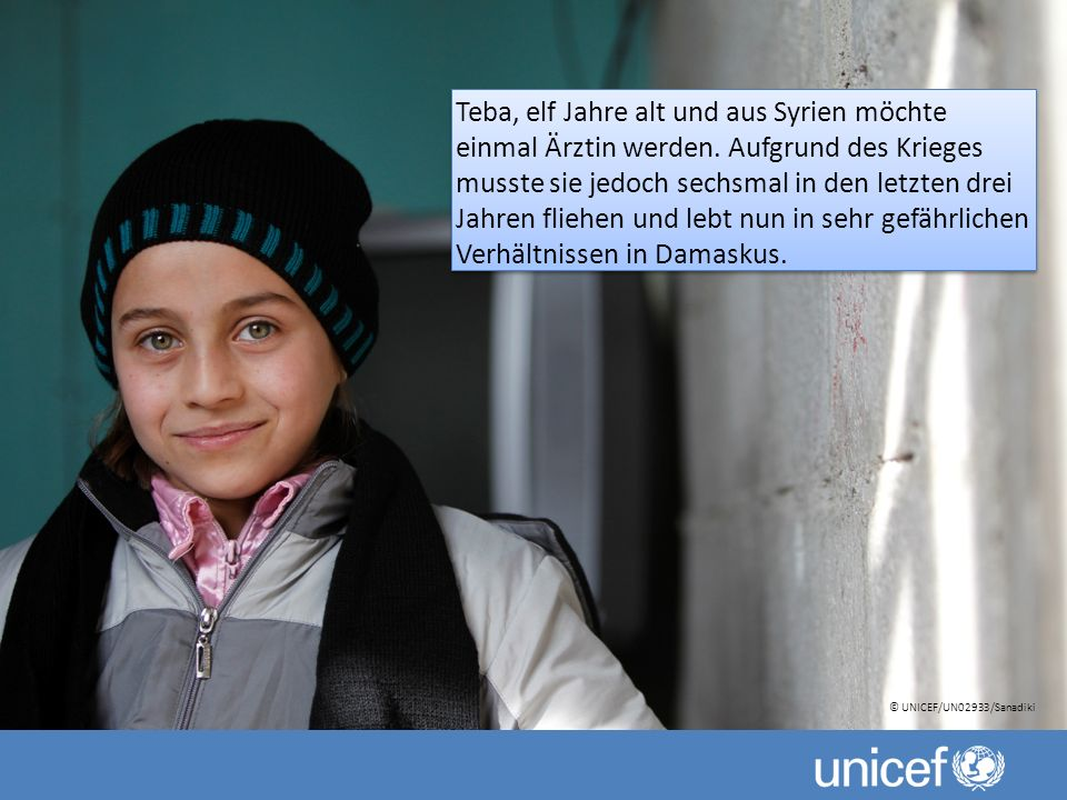 Teba, elf Jahre alt und aus Syrien möchte einmal Ärztin werden.