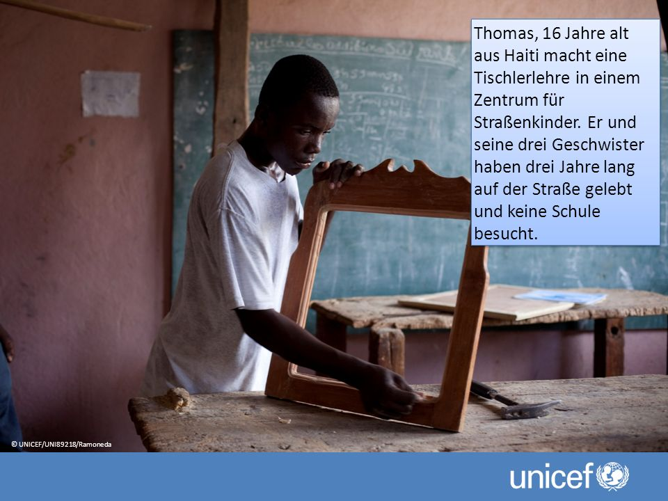 Thomas, 16 Jahre alt aus Haiti macht eine Tischlerlehre in einem Zentrum für Straßenkinder.