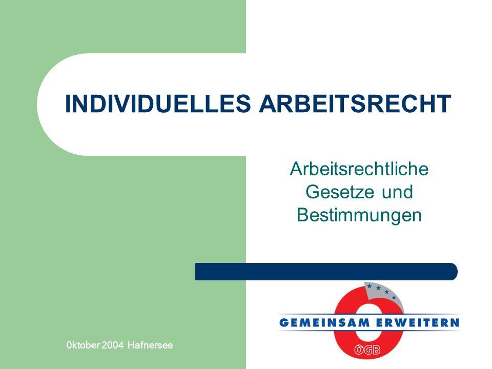 0ktober 2004 Hafnersee INDIVIDUELLES ARBEITSRECHT Arbeitsrechtliche Gesetze und Bestimmungen