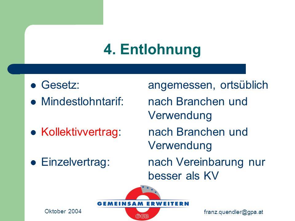 Oktober 2004 franz.quendler@gpa.at 4. Entlohnung Gesetz: angemessen, ortsüblich Mindestlohntarif:nach Branchen und Verwendung Kollektivvertrag: nach B