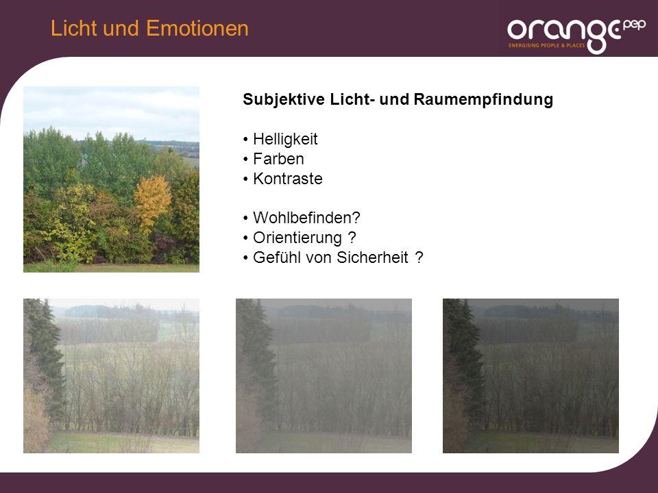Licht und Emotionen Subjektive Licht- und Raumempfindung Helligkeit Farben Kontraste Wohlbefinden.