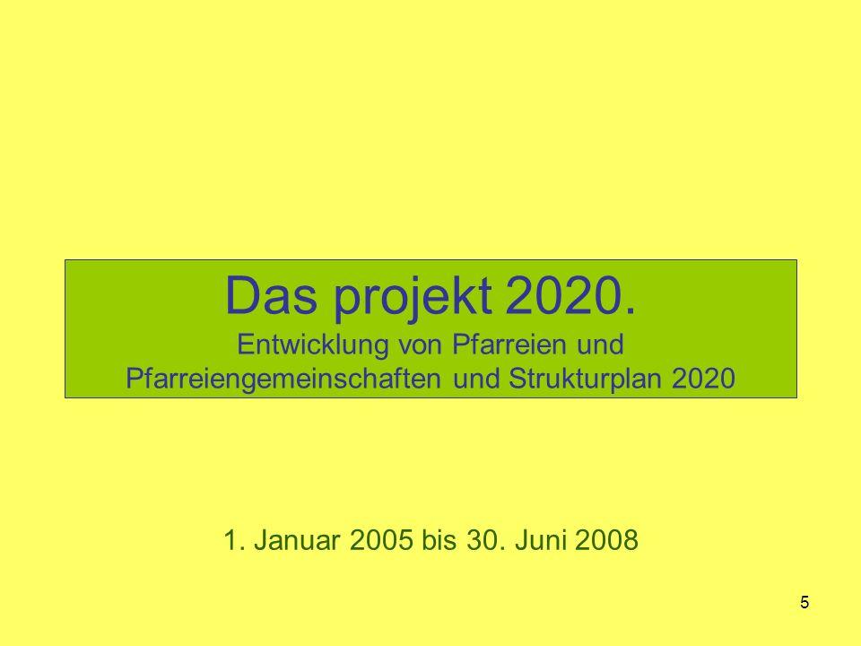 5 Das projekt 2020. Entwicklung von Pfarreien und Pfarreiengemeinschaften und Strukturplan 2020 1.