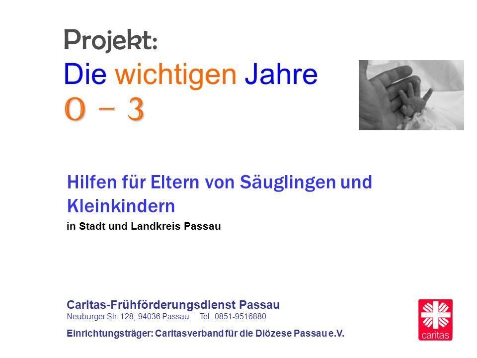 0 – 3 Projekt: Die wichtigen Jahre 0 – 3 Hilfen für Eltern von Säuglingen und Kleinkindern in Stadt und Landkreis Passau Caritas-Frühförderungsdienst Passau Neuburger Str.