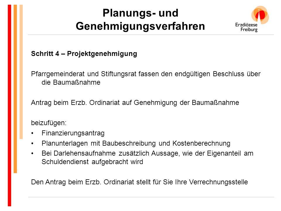 Planungs- und Genehmigungsverfahren Schritt 4 – Projektgenehmigung Pfarrgemeinderat und Stiftungsrat fassen den endgültigen Beschluss über die Baumaßnahme Antrag beim Erzb.