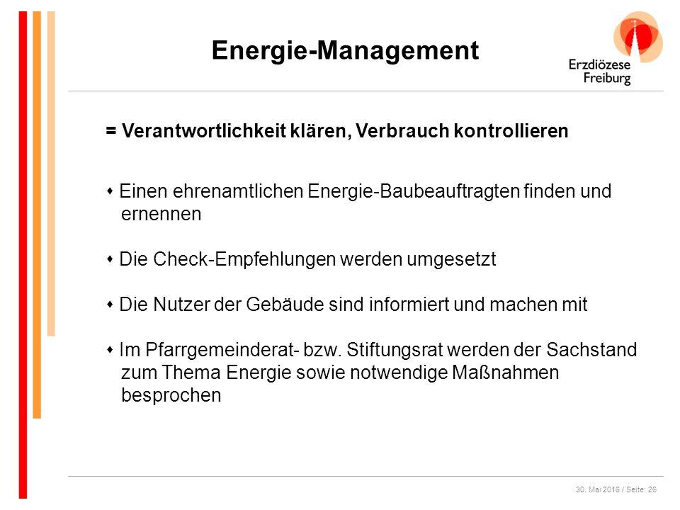 30. Mai 2016 / Seite: 26 Energie-Management  Einen ehrenamtlichen Energie-Baubeauftragten finden und ernennen  Die Check-Empfehlungen werden umgeset