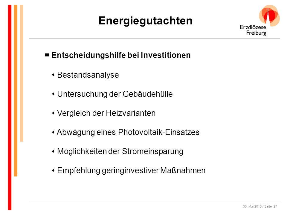 30. Mai 2016 / Seite: 27 Energiegutachten  Bestandsanalyse  Untersuchung der Gebäudehülle  Vergleich der Heizvarianten  Abwägung eines Photovoltai