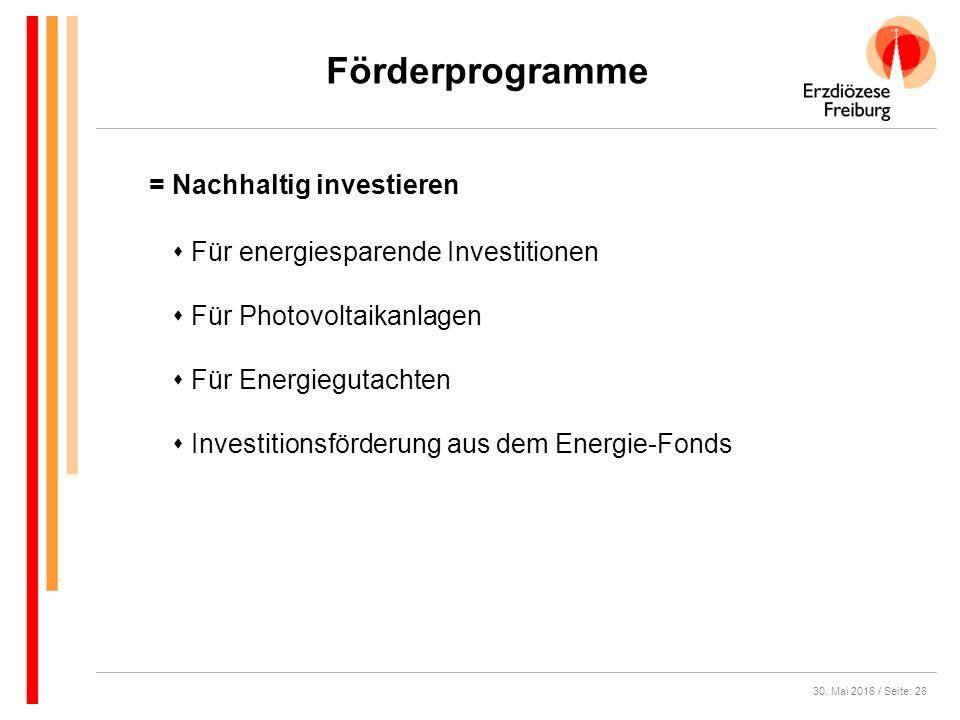 30. Mai 2016 / Seite: 28 Förderprogramme  Für energiesparende Investitionen  Für Photovoltaikanlagen  Für Energiegutachten  Investitionsförderung