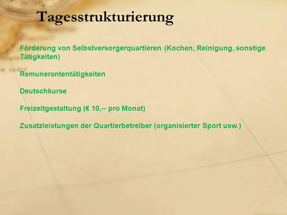 Tagesstrukturierung Förderung von Selbstversorgerquartieren (Kochen, Reinigung, sonstige Tätigkeiten) Remunerantentätigkeiten Deutschkurse Freizeitgestaltung (€ 10,-- pro Monat) Zusatzleistungen der Quartierbetreiber (organisierter Sport usw.)