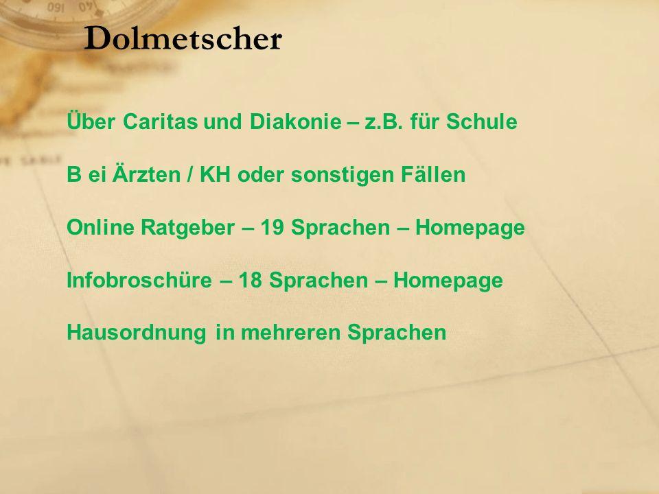 Dolmetscher Über Caritas und Diakonie – z.B.