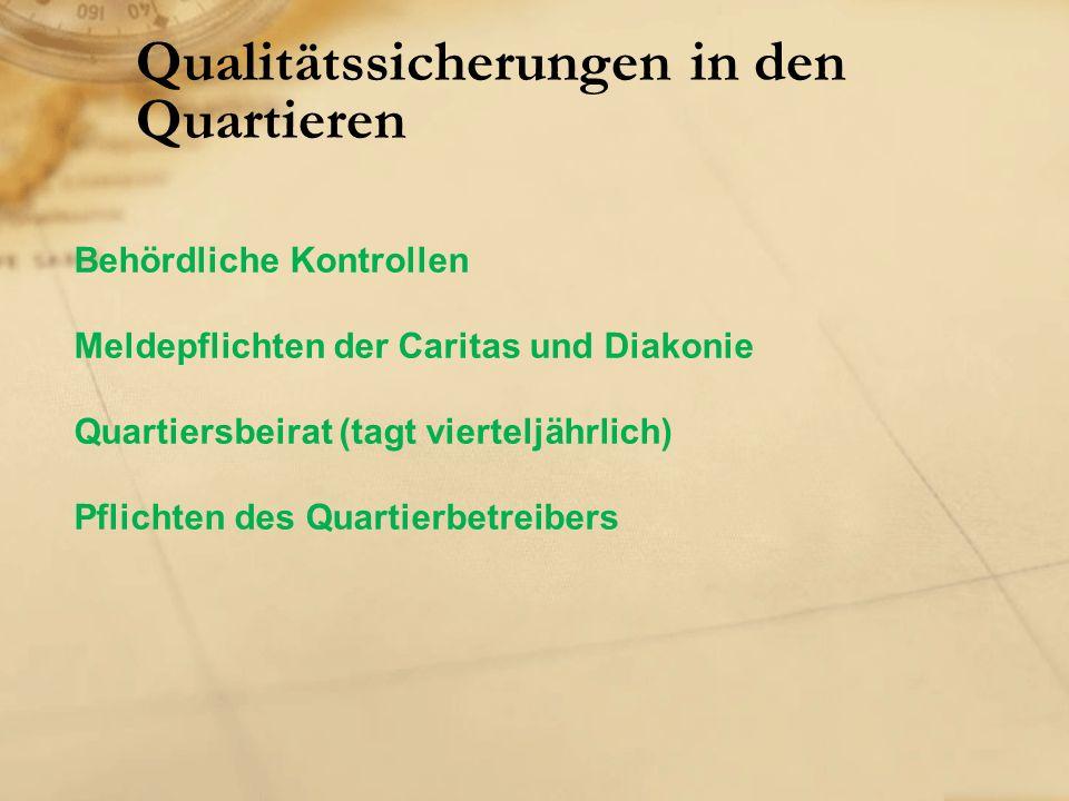 Qualitätssicherungen in den Quartieren Behördliche Kontrollen Meldepflichten der Caritas und Diakonie Quartiersbeirat (tagt vierteljährlich) Pflichten des Quartierbetreibers