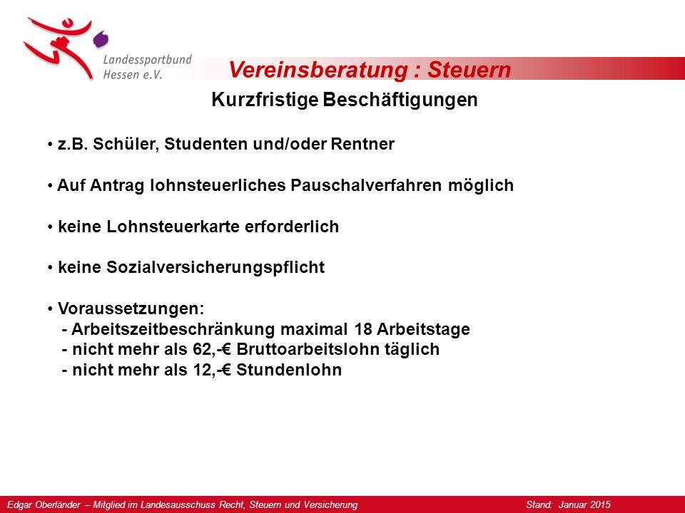 Vereinsberatung : Steuern Kurzfristige Beschäftigungen z.B.