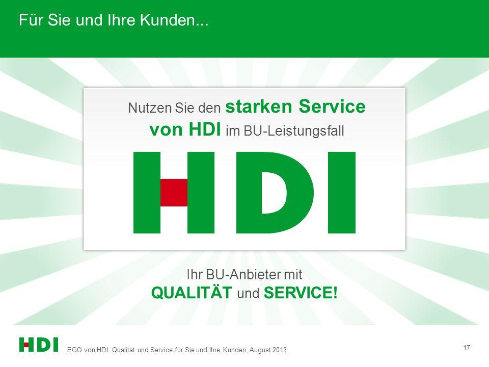 EGO von HDI: Qualität und Service für Sie und Ihre Kunden, August 2013 17 Für Sie und Ihre Kunden... Nutzen Sie den starken Service von HDI im BU-Leis