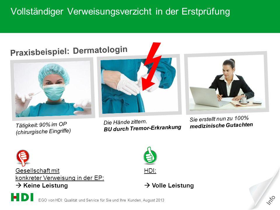 EGO von HDI: Qualität und Service für Sie und Ihre Kunden, August 2013 19 Praxisbeispiel: Dermatologin Tätigkeit: 90% im OP (chirurgische Eingriffe) Die Hände zittern.