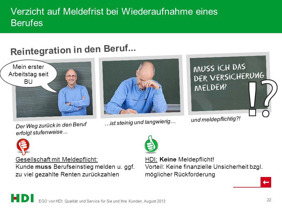 EGO von HDI: Qualität und Service für Sie und Ihre Kunden, August 2013 22 Reintegration in den Beruf...