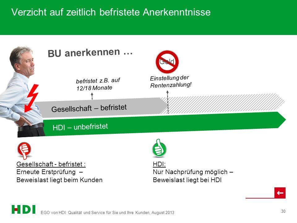 EGO von HDI: Qualität und Service für Sie und Ihre Kunden, August 2013 30 BU anerkennen … Verzicht auf zeitlich befristete Anerkenntnisse HDI-Gerling