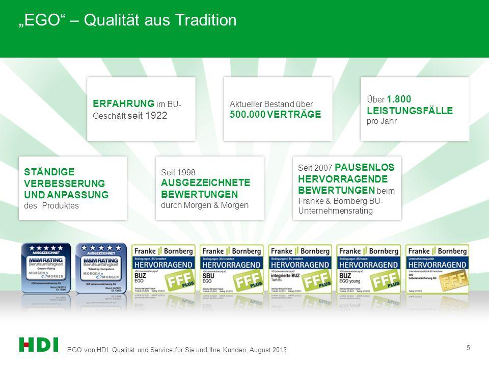 """EGO von HDI: Qualität und Service für Sie und Ihre Kunden, August 2013 5 """"EGO"""" – Qualität aus Tradition Über 1.800 LEISTUNGSFÄLLE pro Jahr ERFAHRUNG i"""