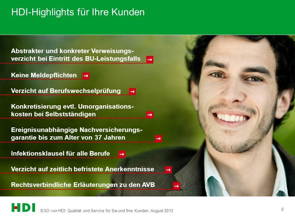 EGO von HDI: Qualität und Service für Sie und Ihre Kunden, August 2013 6 HDI-Highlights für Ihre Kunden Ereignisunabhängige Nachversicherungs- garanti