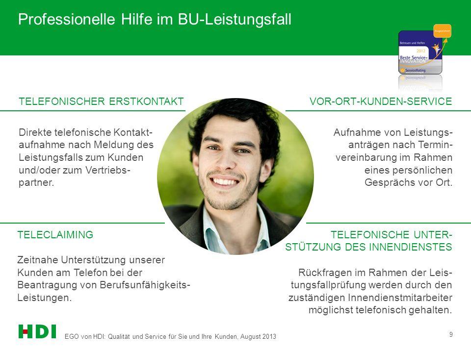 EGO von HDI: Qualität und Service für Sie und Ihre Kunden, August 2013 9 VOR-ORT-KUNDEN-SERVICE Professionelle Hilfe im BU-Leistungsfall TELEFONISCHER