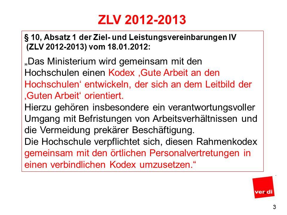 """3 ZLV 2012-2013 § 10, Absatz 1 der Ziel- und Leistungsvereinbarungen IV (ZLV 2012-2013) vom 18.01.2012: """"Das Ministerium wird gemeinsam mit den Hochschulen einen Kodex 'Gute Arbeit an den Hochschulen' entwickeln, der sich an dem Leitbild der 'Guten Arbeit' orientiert."""