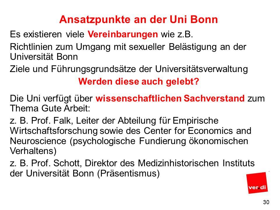 29 Ansatzpunkte an der Uni Bonn Die Uni Bonn beteiligt sich im Auftrag des Ministeriums an einer Erhebung zu Befristungen bei den Beschäftigungsverhältnissen der Wissenschaftlerinnen und Wissenschaftlern.