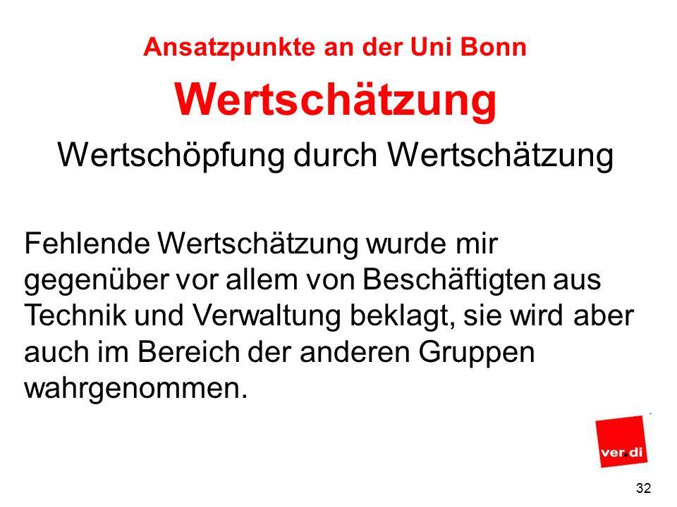 31 Ansatzpunkte an der Uni Bonn Ein wichtiges Instrument könnte die in §5 des ArbSchG vorgeschriebene und noch ausstehende Gefährdungsbeurteilung für Gefährdungen sein, die zu psychischen oder psycho-somatischen Erkrankungen führen können.