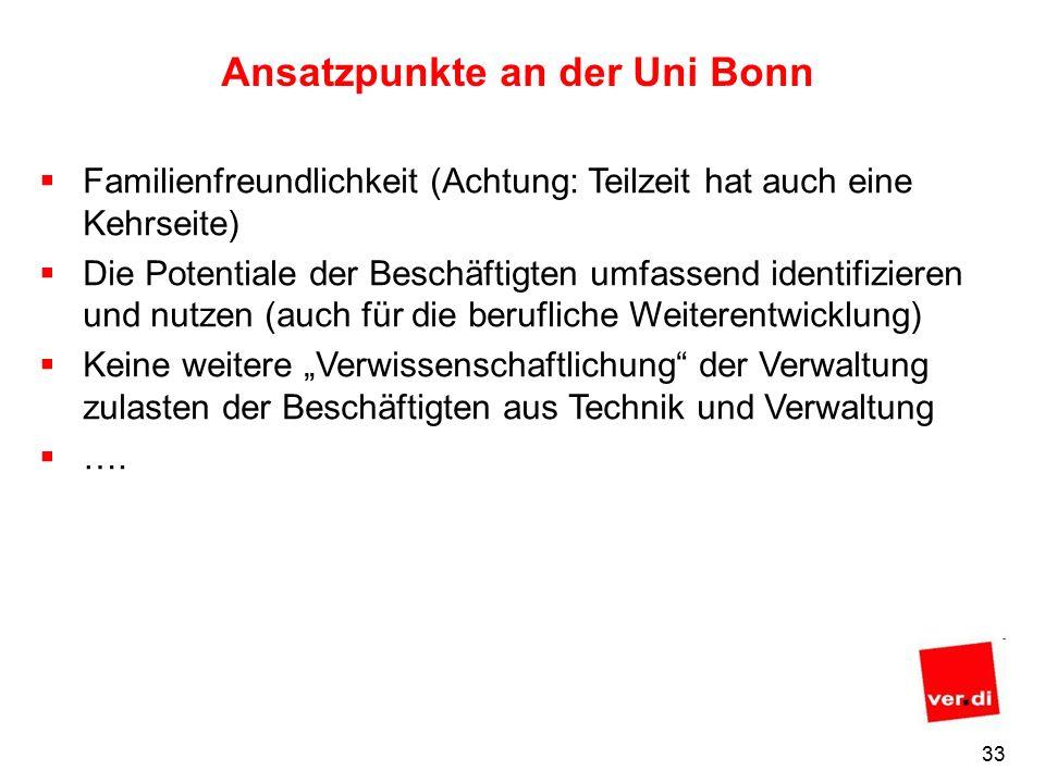 32 Ansatzpunkte an der Uni Bonn Wertschätzung Wertschöpfung durch Wertschätzung Fehlende Wertschätzung wurde mir gegenüber vor allem von Beschäftigten aus Technik und Verwaltung beklagt, sie wird aber auch im Bereich der anderen Gruppen wahrgenommen.