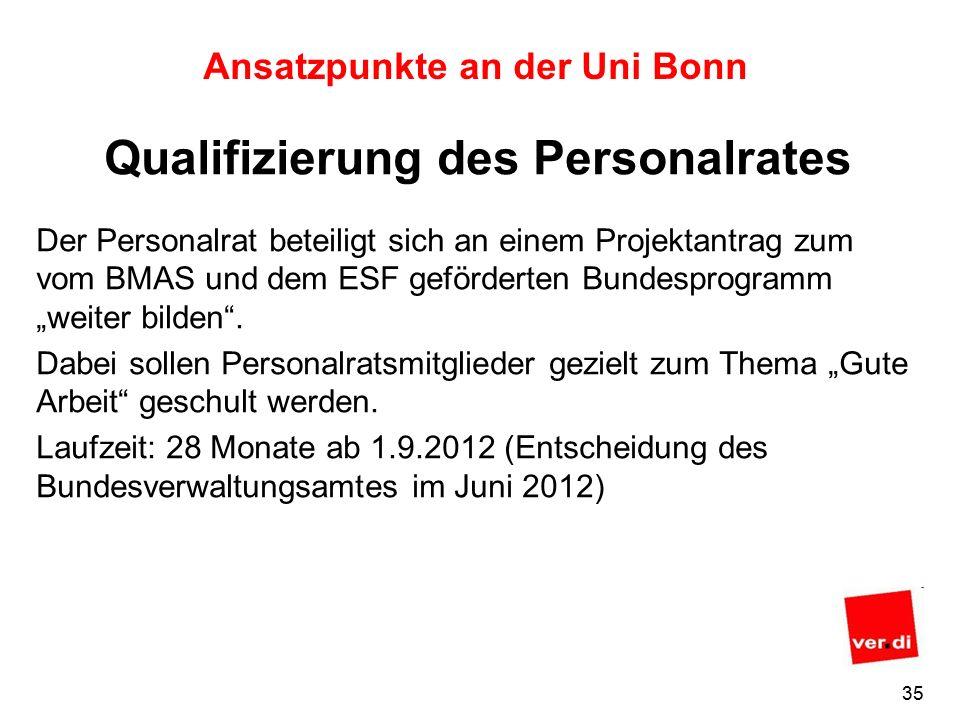 34 Ansatzpunkte an der Uni Bonn Das wissenschaftliche Potential zu diesem Thema nutzen.