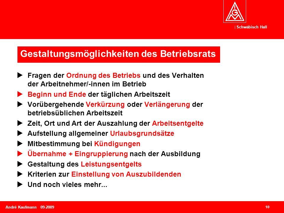 Schwäbisch Hall 10 André Kaufmann 09-2009  Fragen der Ordnung des Betriebs und des Verhalten der Arbeitnehmer/-innen im Betrieb  Beginn und Ende der