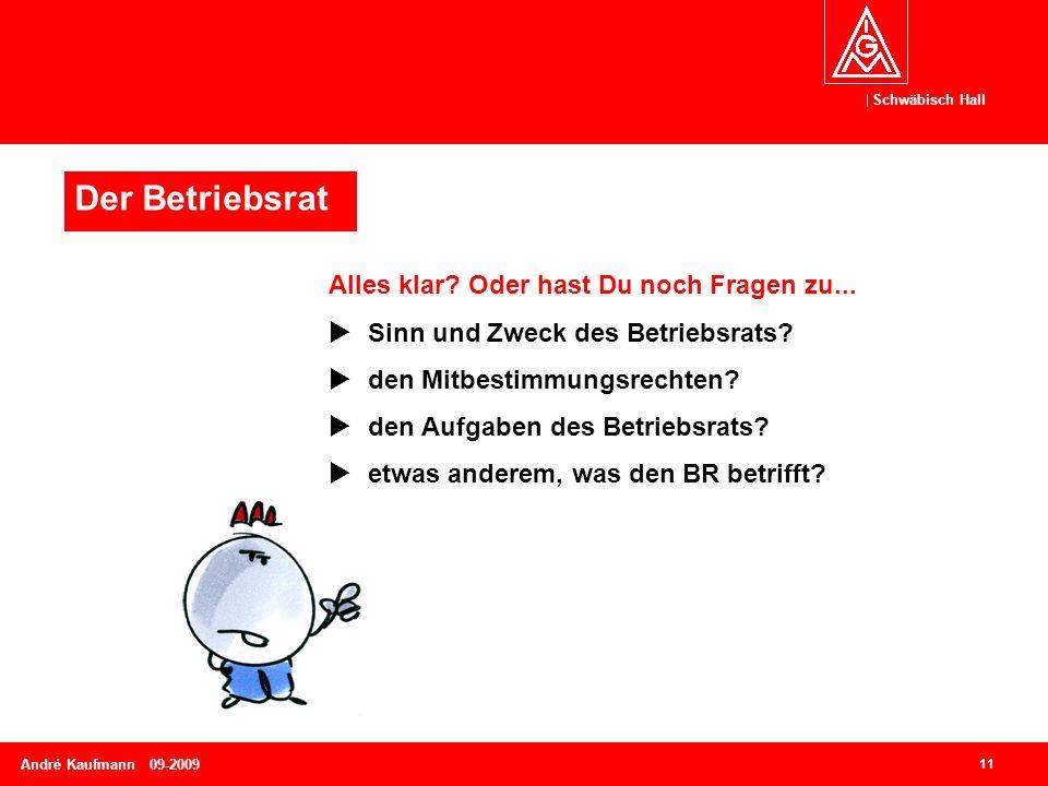 Schwäbisch Hall 11 André Kaufmann 09-2009 Alles klar? Oder hast Du noch Fragen zu...  Sinn und Zweck des Betriebsrats?  den Mitbestimmungsrechten? 