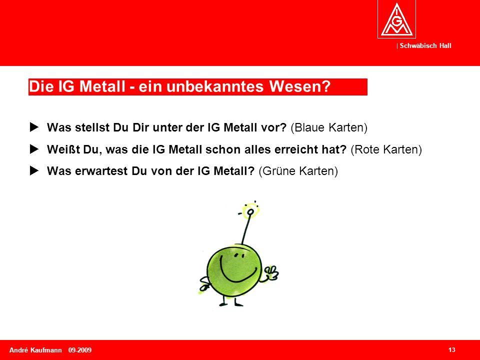 Schwäbisch Hall 13 André Kaufmann 09-2009 Die IG Metall - ein unbekanntes Wesen?  Was stellst Du Dir unter der IG Metall vor? (Blaue Karten)  Weißt