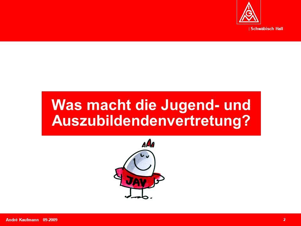Schwäbisch Hall 2 André Kaufmann 09-2009 Was macht die Jugend- und Auszubildendenvertretung?