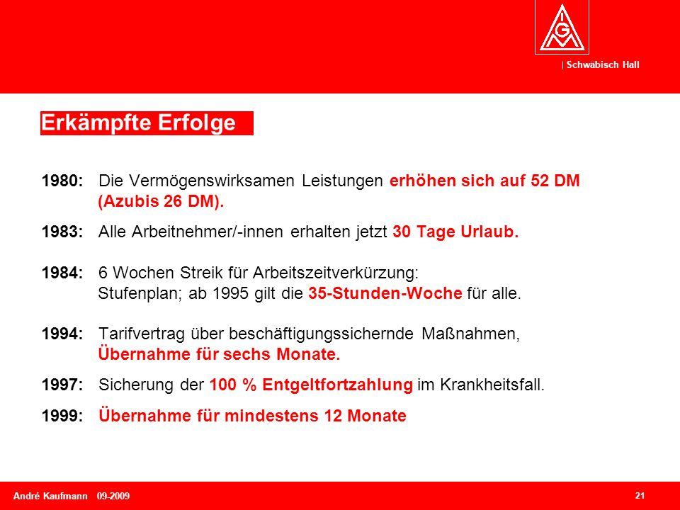 Schwäbisch Hall 21 André Kaufmann 09-2009 1980: Die Vermögenswirksamen Leistungen erhöhen sich auf 52 DM (Azubis 26 DM). 1983: Alle Arbeitnehmer/-inne