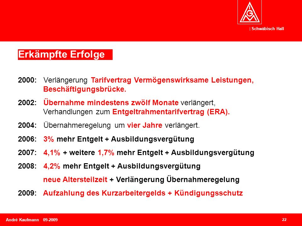 Schwäbisch Hall 22 André Kaufmann 09-2009 2000: Verlängerung Tarifvertrag Vermögenswirksame Leistungen, Beschäftigungsbrücke. 2002: Übernahme mindeste