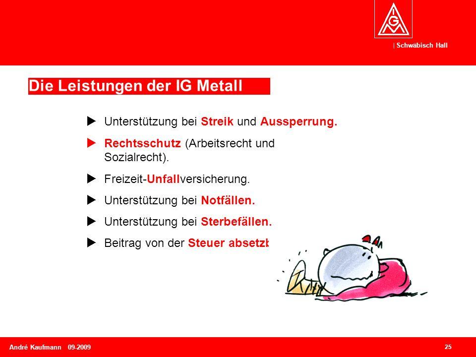 Schwäbisch Hall 25 André Kaufmann 09-2009 Die Leistungen der IG Metall  Unterstützung bei Streik und Aussperrung.  Rechtsschutz (Arbeitsrecht und So