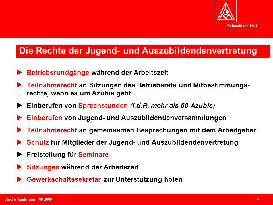 Schwäbisch Hall 4 André Kaufmann 09-2009  Betriebsrundgänge während der Arbeitszeit  Teilnahmerecht an Sitzungen des Betriebsrats und Mitbestimmungs- rechte, wenn es um Azubis geht  Einberufen von Sprechstunden (i.d.R.