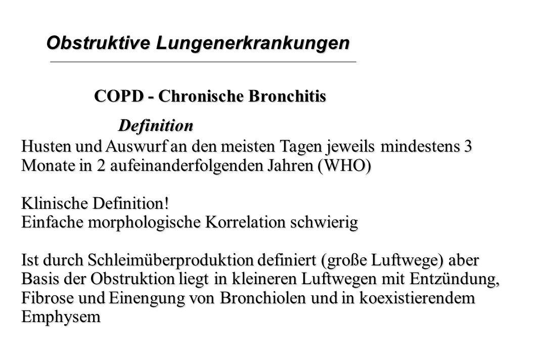 Obstruktive Lungenerkrankungen COPD - Chronische Bronchitis Definition Husten und Auswurf an den meisten Tagen jeweils mindestens 3 Monate in 2 aufein