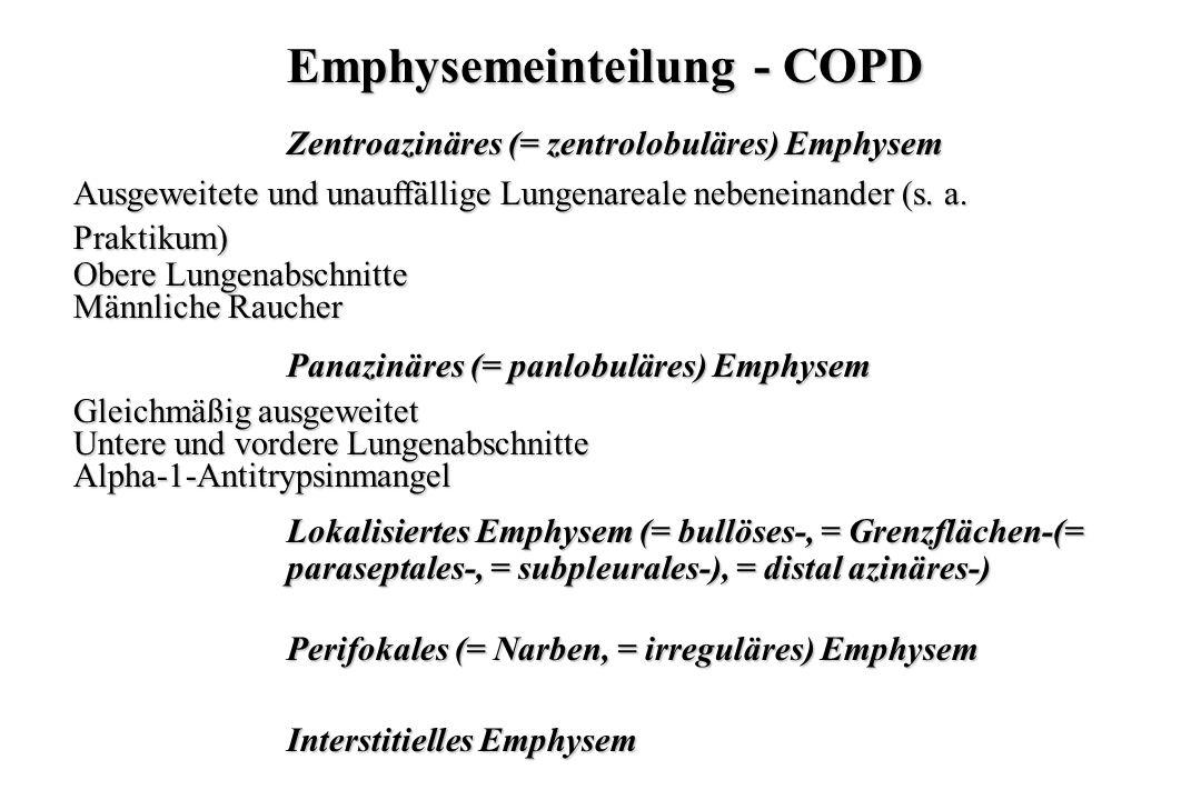 Emphysemeinteilung - COPD Zentroazinäres (= zentrolobuläres) Emphysem Ausgeweitete und unauffällige Lungenareale nebeneinander (s. a. Praktikum) Obere