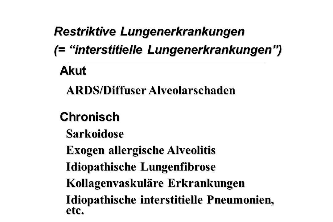 """Restriktive Lungenerkrankungen (= """"interstitielle Lungenerkrankungen"""") Akut ARDS/Diffuser Alveolarschaden ChronischSarkoidose Exogen allergische Alveo"""