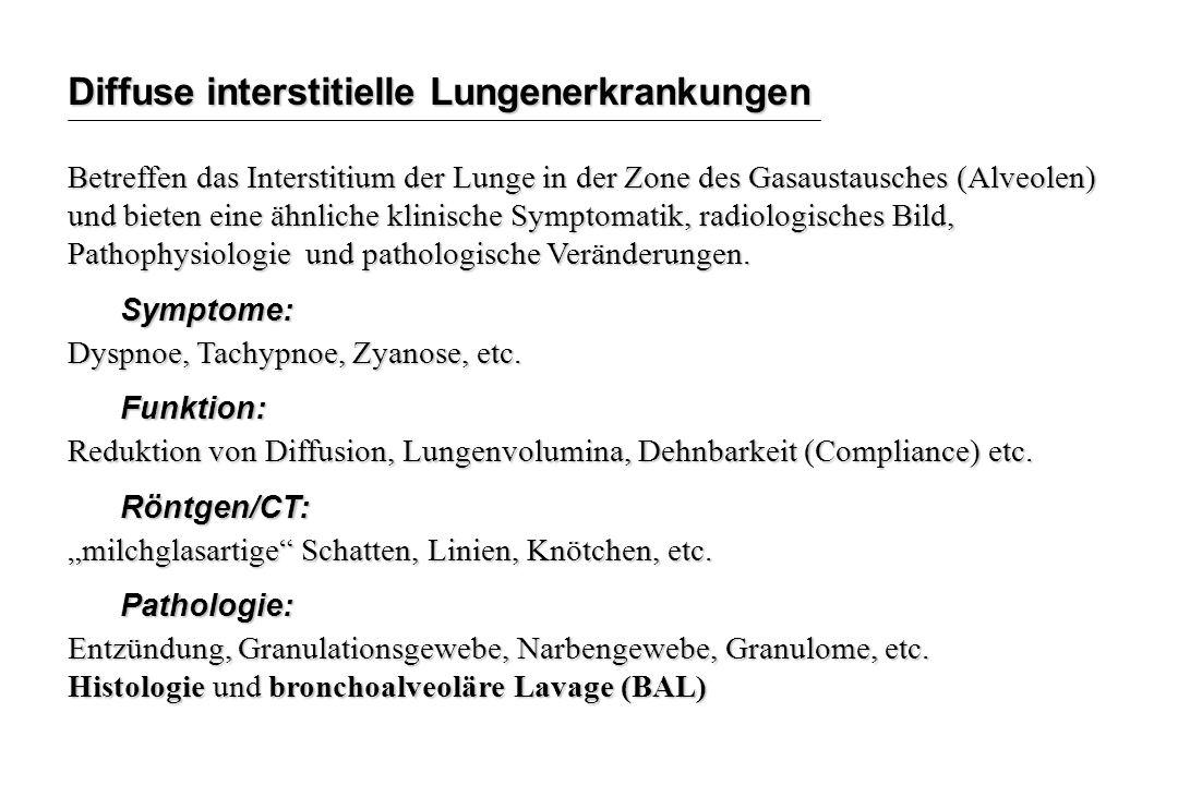 Diffuse interstitielle Lungenerkrankungen Betreffen das Interstitium der Lunge in der Zone des Gasaustausches (Alveolen) und bieten eine ähnliche klin