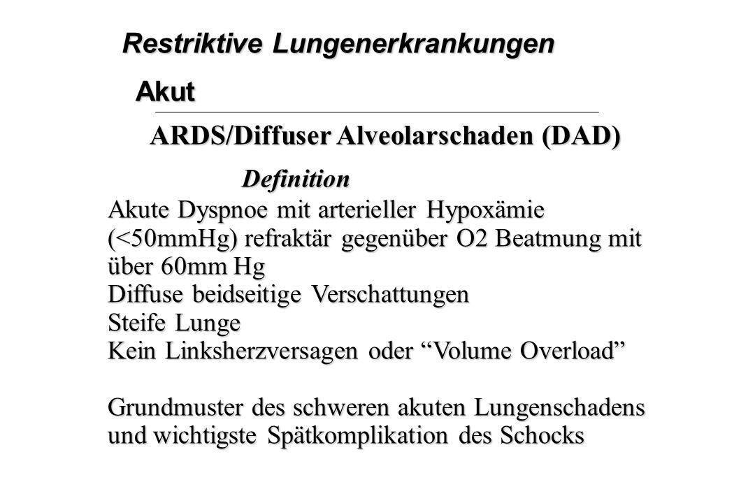 Restriktive Lungenerkrankungen Akut ARDS/Diffuser Alveolarschaden (DAD) Definition Akute Dyspnoe mit arterieller Hypoxämie (<50mmHg) refraktär gegenüb